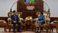 Vietnam Fatherland Front leader meets top legislator of Laos