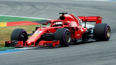 Vettel on pole in Germany but drama for Hamilton