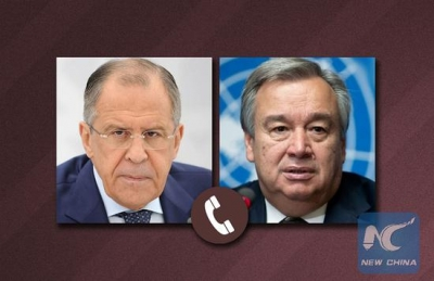 Russian FM, UN chief discuss Syria, Ukraine by phone