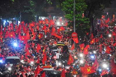 Jubilant fans celebrate Vietnam's first trip to Asiad semifinals