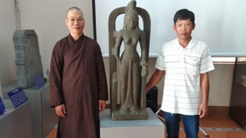 Statue of the Hindu goddess Saraswati introduced to public at Vinh Long museum