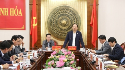 Politburo member Vo Van Thuong works with Thanh Hoa Province