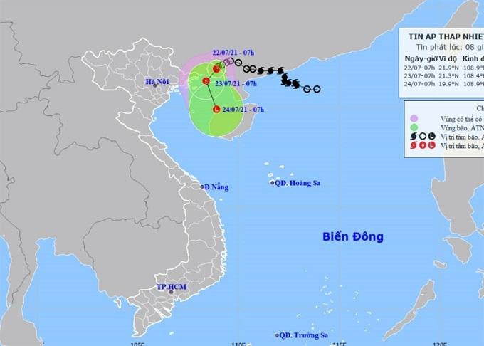 Tropical depression located about 110km from Mong Cai City