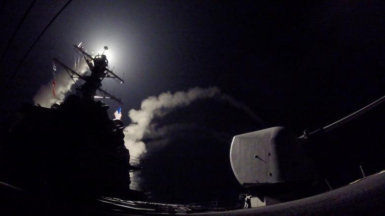 Adding fuel to the fire in syria nhan dan online us navy guided missile destroyer uss porter ddg 78 conducts strike operations which us defence department said was a part of cruise missile strike publicscrutiny Images